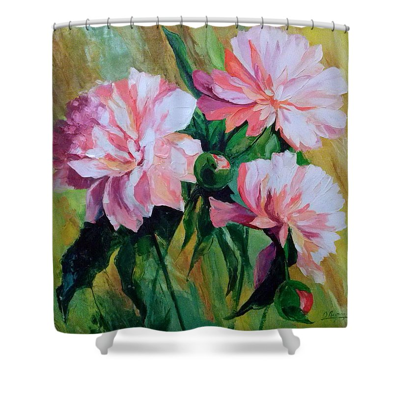 Peonies Shower Curtain featuring the painting Peonies by Olha Darchuk