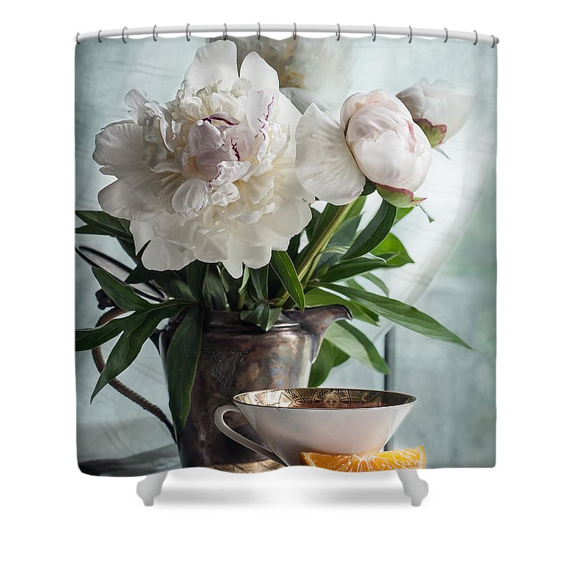 Peony Shower Curtain featuring the photograph Peonies Tea And Oranges by Maggie Terlecki