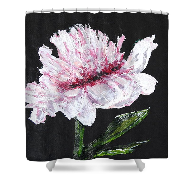 Peony Shower Curtain featuring the mixed media Peony Bloom by Betty-Anne McDonald