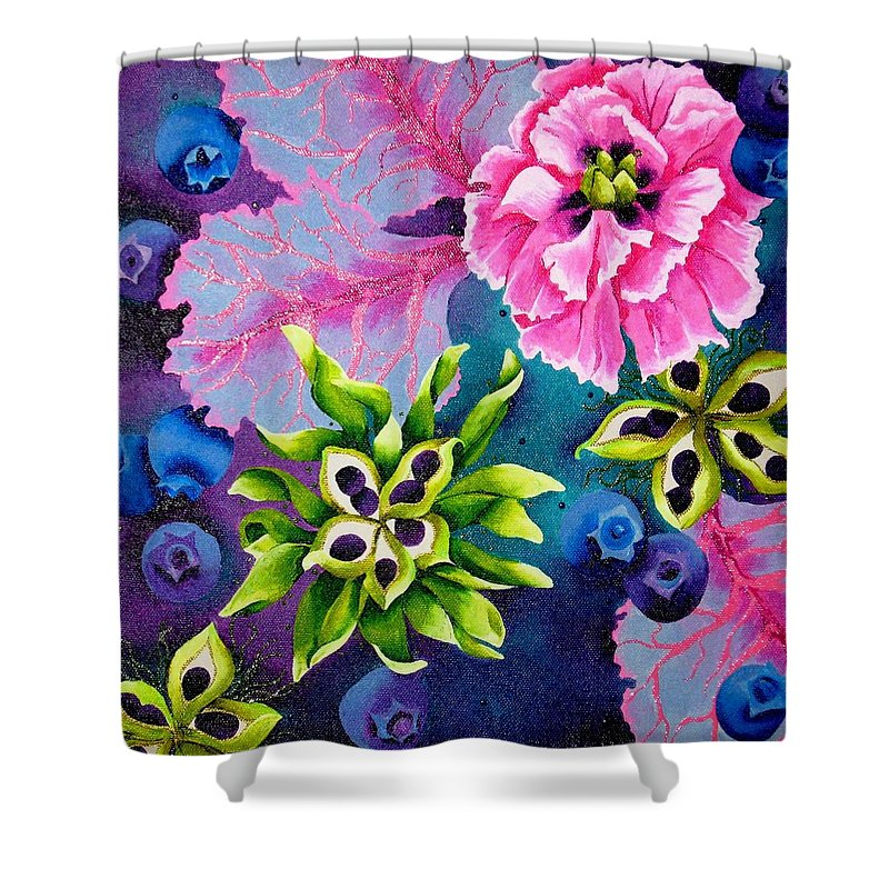 Pink Shower Curtain featuring the painting Peony by Elizabeth Elequin