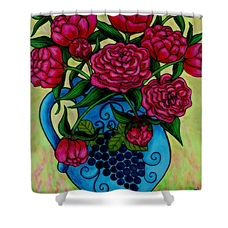 Peonies Shower Curtain featuring the painting Peony Party by Lisa Lorenz
