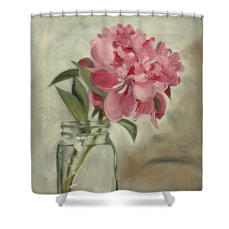 Still-life Shower Curtain featuring the painting Peony by Sarah Lynch