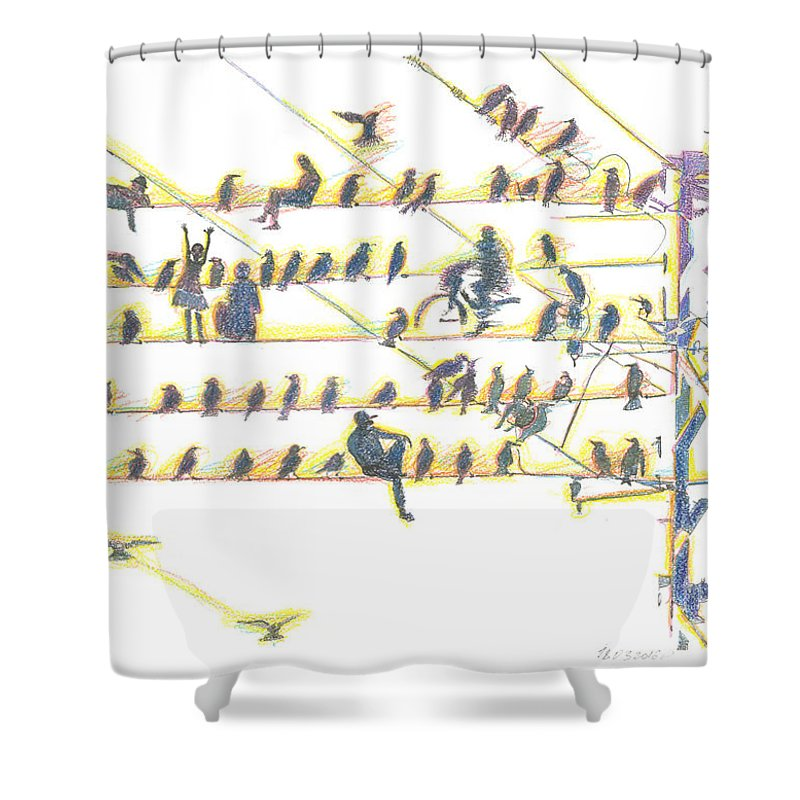 Contemporary Painting Shower Curtain featuring the painting People And Birds. 18 March, 2016 by Tatiana Chernyavskaya