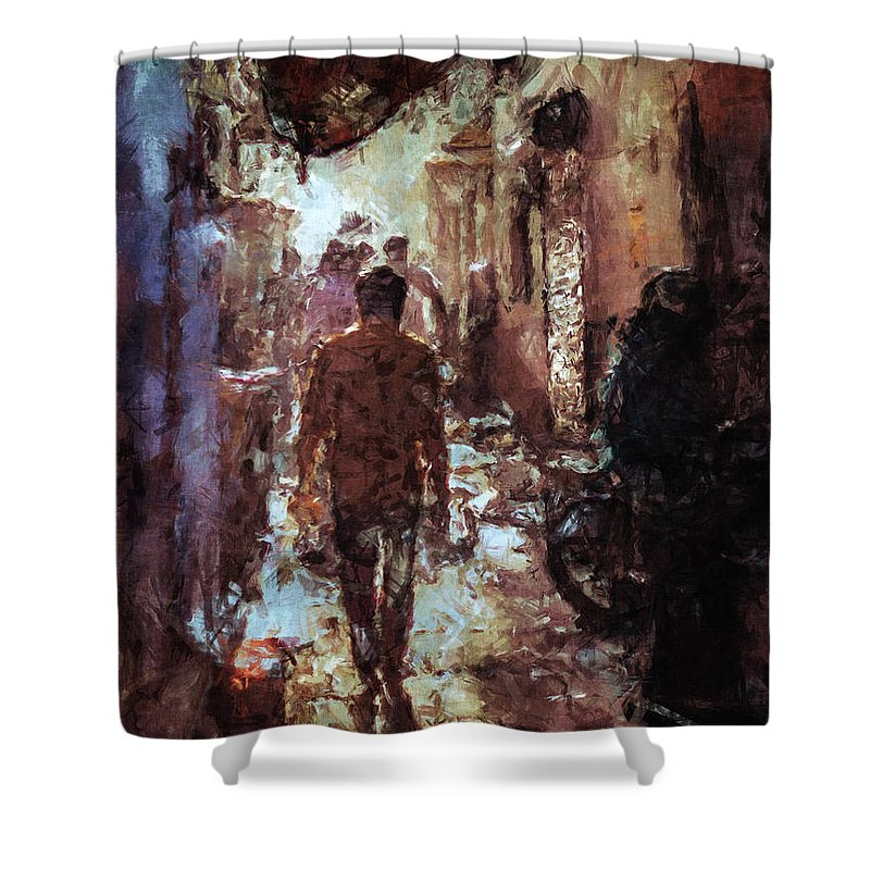 Alley Shower Curtain featuring the digital art People In Alley by Phil Perkins