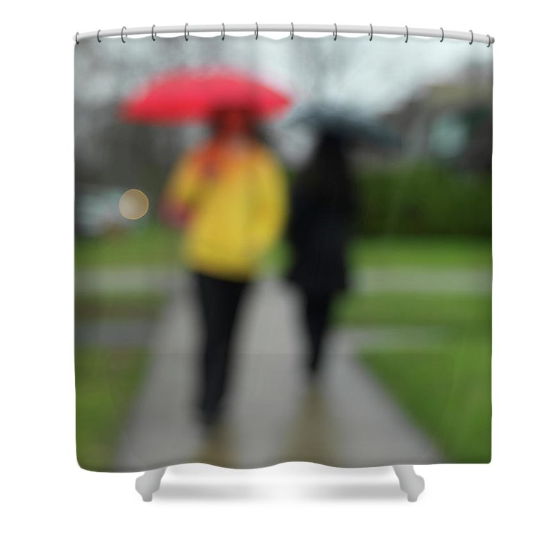Rainy Day Shower Curtain featuring the photograph People In The Rain by Maxim Images Prints