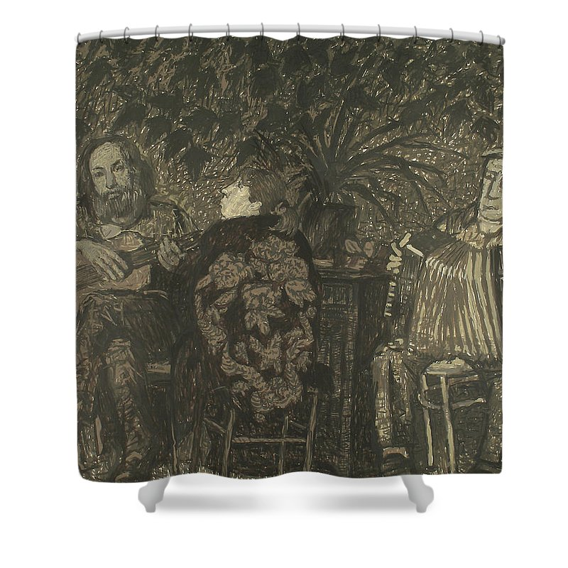 People Shower Curtain featuring the painting Three Persons by Robert Nizamov