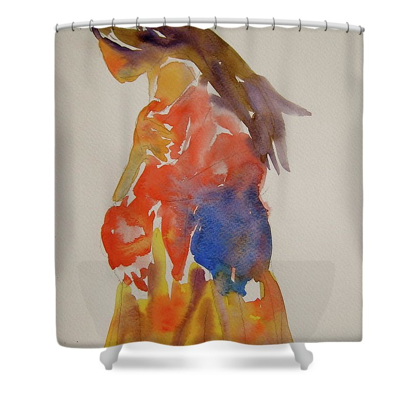 Figure Shower Curtain featuring the painting People Turned Away by Beverley Harper Tinsley
