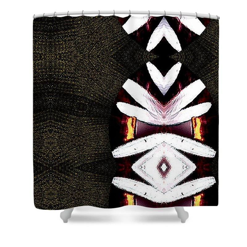 Oriental Shower Curtain featuring the mixed media Pepitas Oriental Art by Pepita Selles