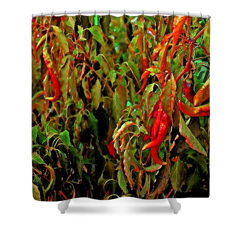 Shower Curtain featuring the photograph Peppers - Red by Michael Thomas
