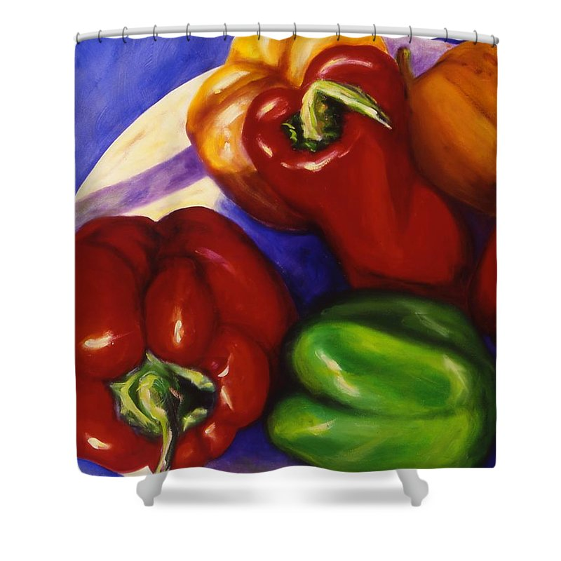 Still Life Peppers Shower Curtain featuring the painting Peppers In The Round by Shannon Grissom