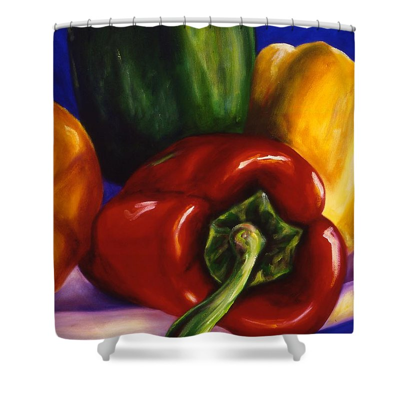 Still Life Shower Curtain featuring the painting Peppers On Peppers by Shannon Grissom