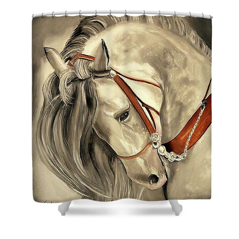 Peralta Shower Curtain featuring the painting Peralta Andalucian by Manuel Sanchez