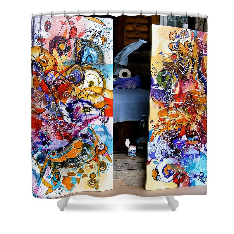 Abstract Shower Curtain featuring the painting Pereche by Elena Bissinger