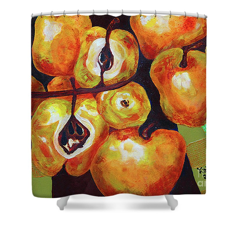 Kat Solinsky Shower Curtain featuring the painting Perfect Pears by Kat Solinsky