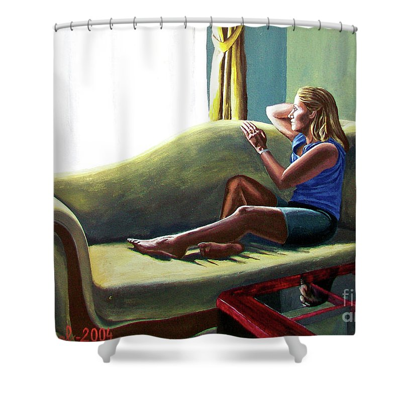 Figure Shower Curtain featuring the painting Perfect Waiting - Esperar Perfecto by Rezzan Erguvan-Onal