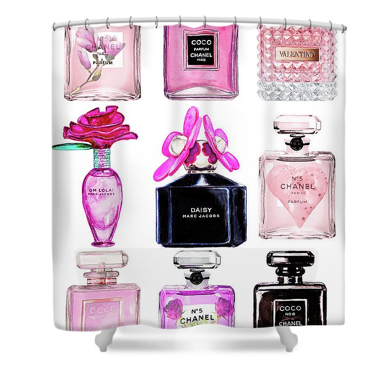 Perfume Set Black And Pink Shower Curtain For Sale By Del Art