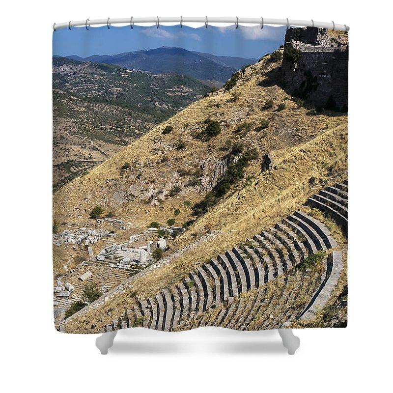 Bergama Pergamon Turkey Ancient Ruins Ruin Acropolis Landscape Landscapes Amphitheater Amphitheaters Architecture Structures Structures Shower Curtain featuring the photograph Pergamon Amphitheater by Bob Phillips
