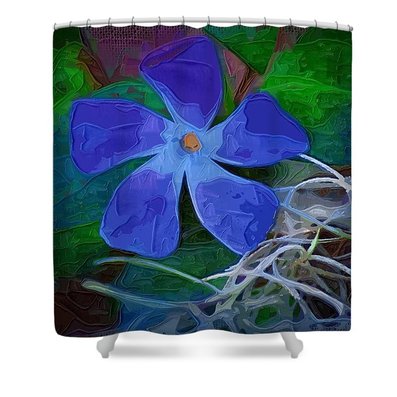 Flower Shower Curtain featuring the digital art Periwinkle Blue by Donna Bentley