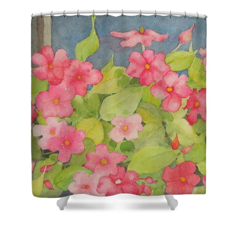 Flowers Shower Curtain featuring the painting Perky by Mary Ellen Mueller Legault