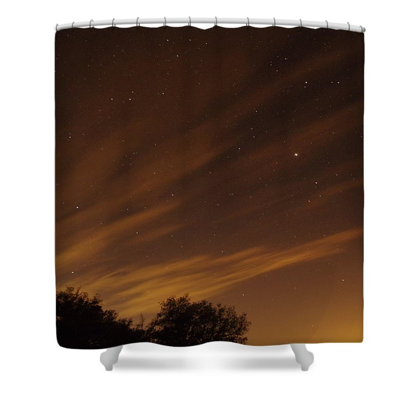 Photograph Of Perseid Meteor Shower Glow Taken In Mountains By Julian Shower Curtain featuring the photograph Perseid Shower Glow C by Phyllis Spoor