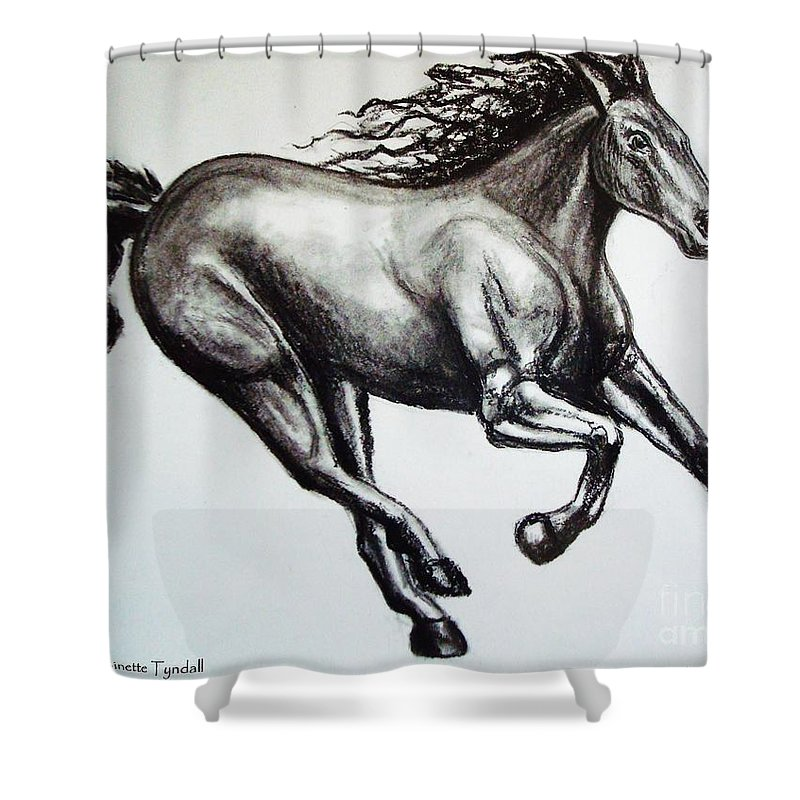 Horse Shower Curtain featuring the drawing Persistance by Elizabeth Robinette Tyndall