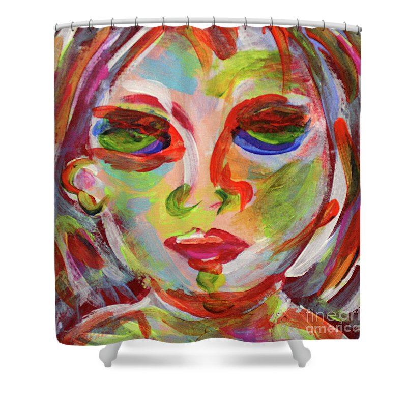 Face Shower Curtain featuring the painting Persistence - Contemporary Art Face by Lauri Crowe