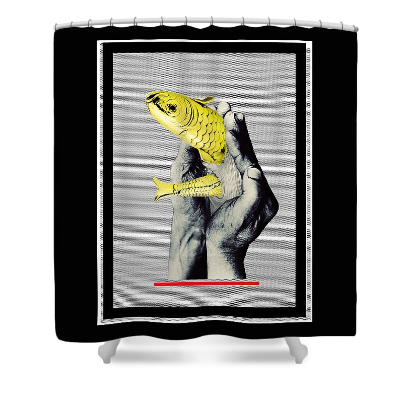 Gold Shower Curtain featuring the mixed media Personal Goldfish by Gabor Paszti