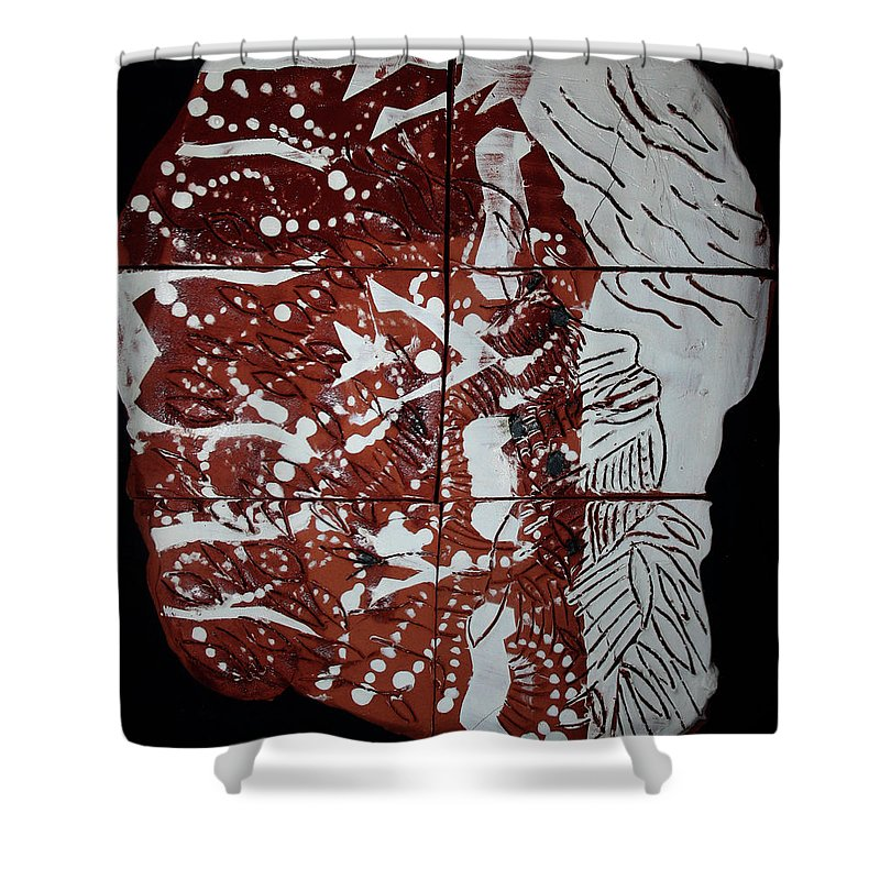 Jesus Shower Curtain featuring the ceramic art Perspectives - Plaque by Gloria Ssali