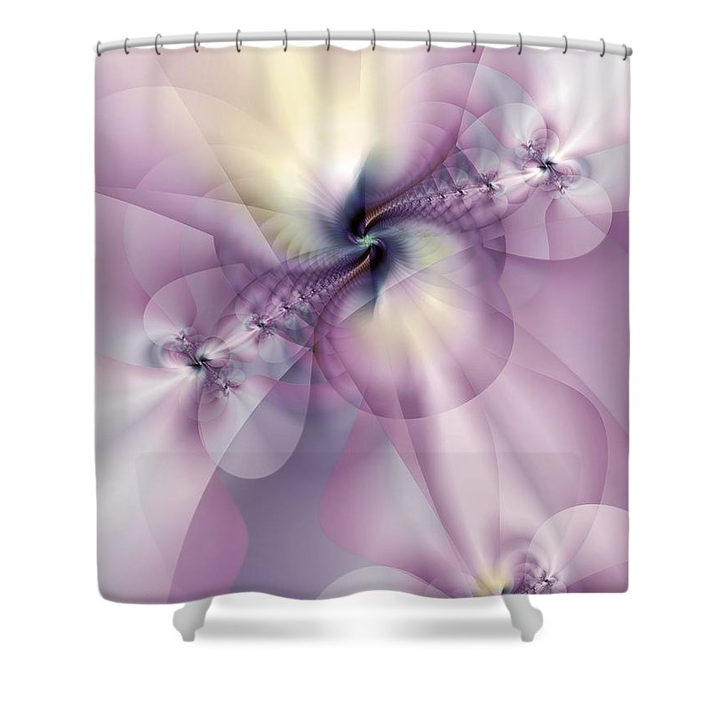 Abstract Shower Curtain featuring the digital art Petals Of Pulchritude by Casey Kotas