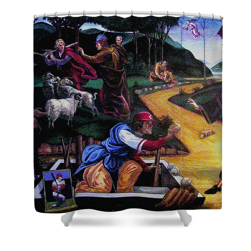 Pete Rose Shower Curtain featuring the painting Pete Rose In The Renaissance by Stan Esson