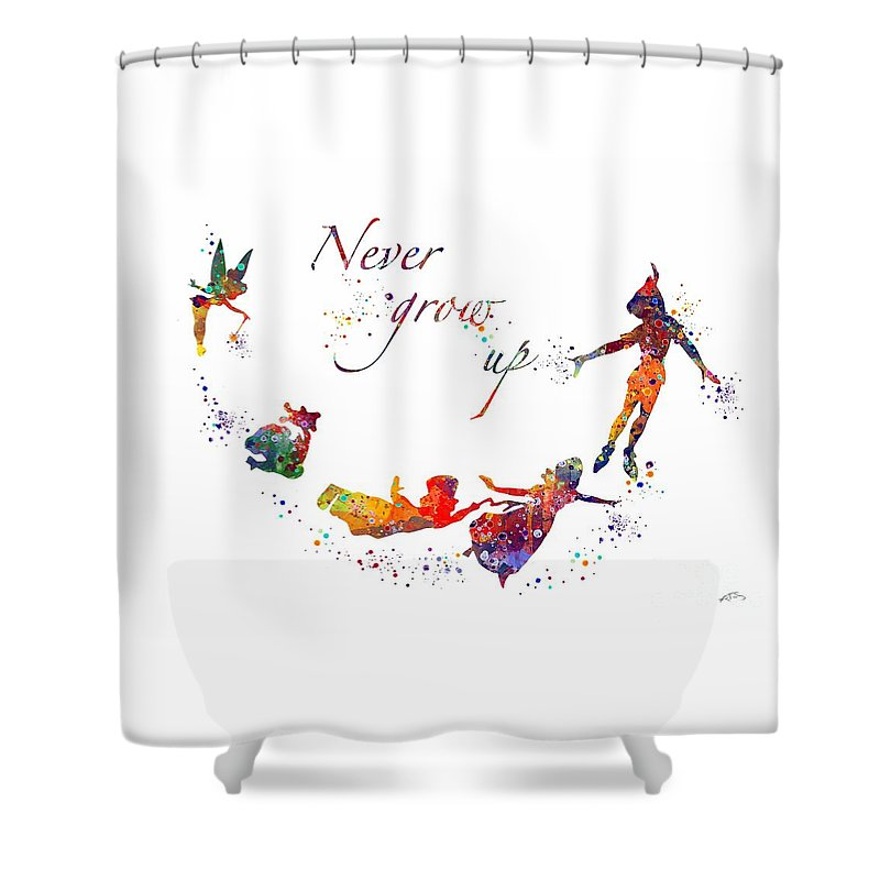 Nursery Art Shower Curtain Featuring The Digital Peter Pan Quote By Svetla Tancheva