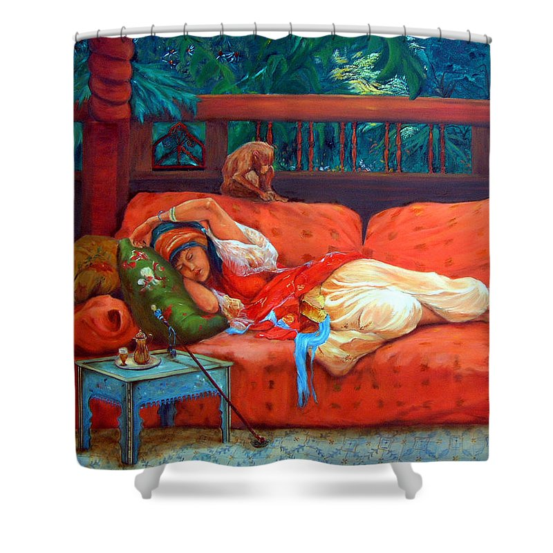 Figurative Art Shower Curtain featuring the painting Petite Somme After A. Bridgman by Portraits By NC
