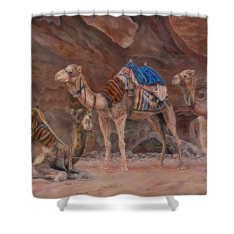 Camels Shower Curtain featuring the painting Petra Camels by Edmund Price
