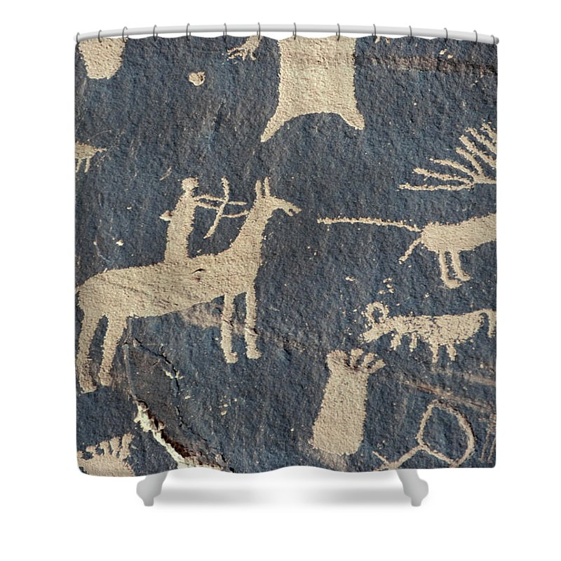 American Shower Curtain featuring the photograph Petroglyphs, Utah by Granger