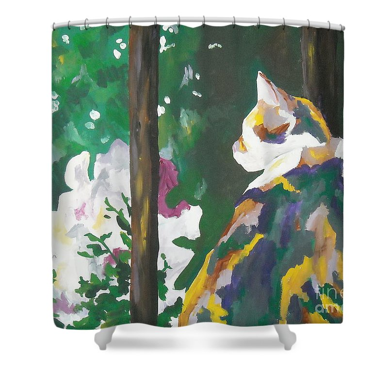 Petunia Shower Curtain featuring the painting Petunia by Caroline Davis