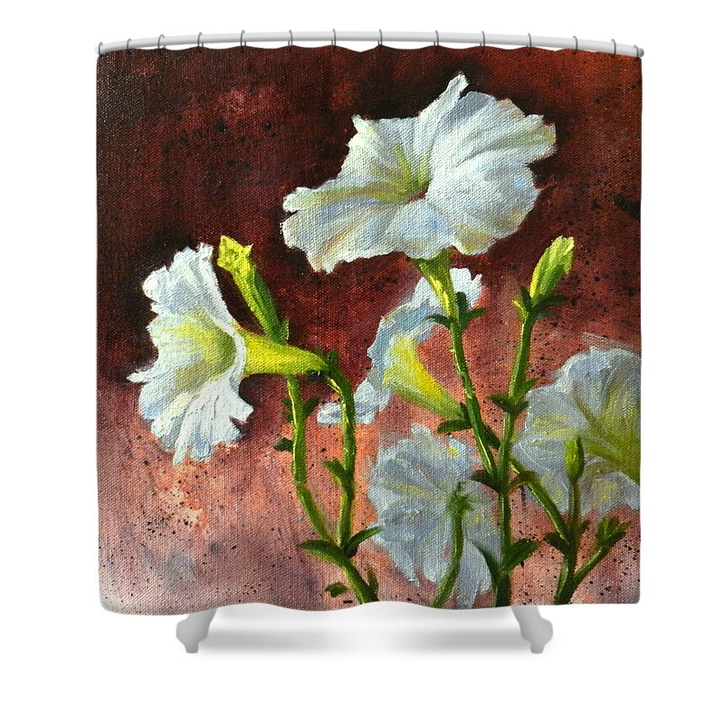 Flower Shower Curtain featuring the painting Petunias Delight by Ningning Li