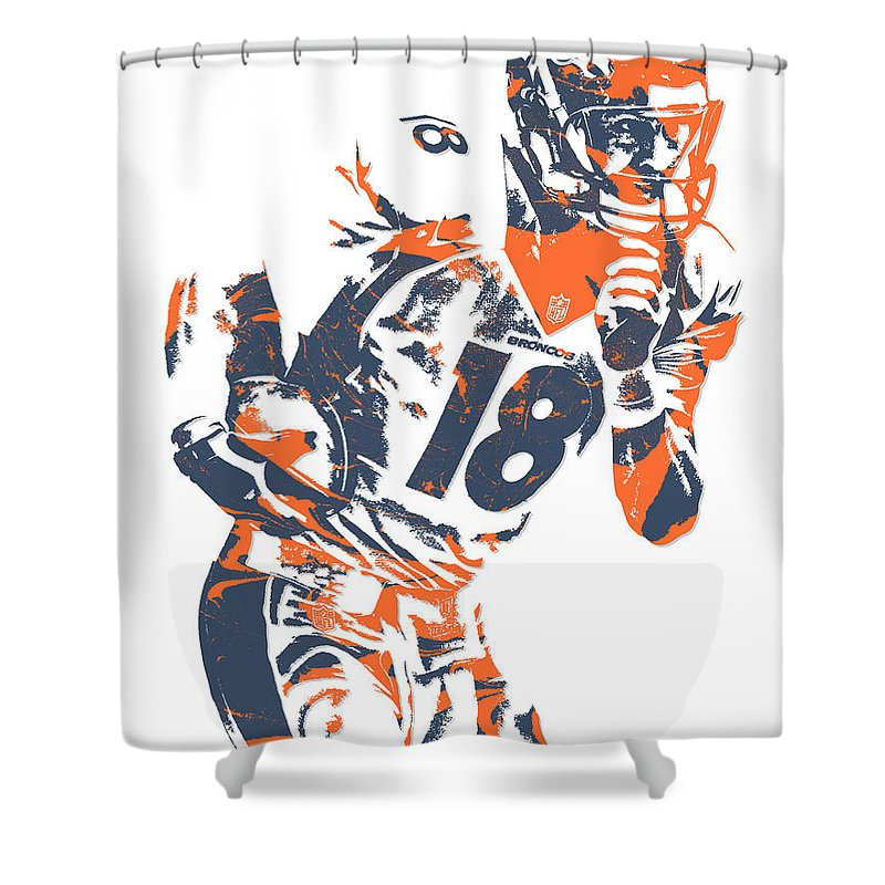 Peyton Manning Shower Curtain Featuring The Mixed Media Denver Broncos Pixel Art 6 By