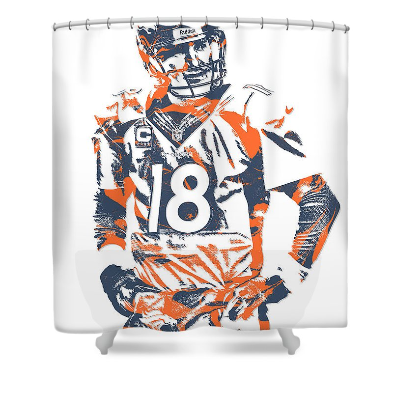 Peyton Manning Shower Curtain Featuring The Mixed Media Denver Broncos Pixel Art 8 By