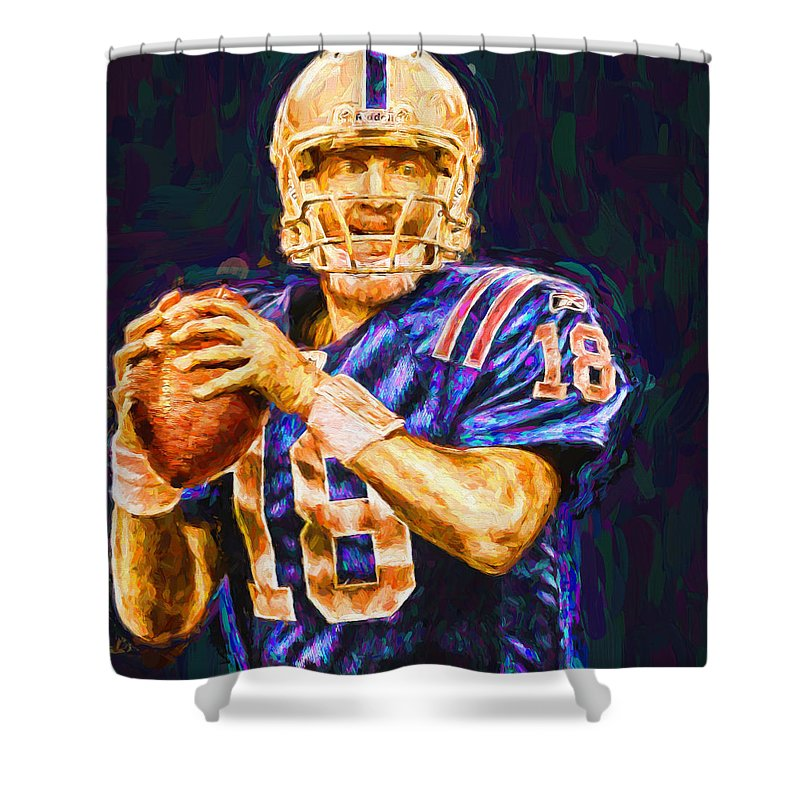 18 Shower Curtain Featuring The Photograph Peyton Manning Indianapolis Colts Nfl Football Painting Digital By