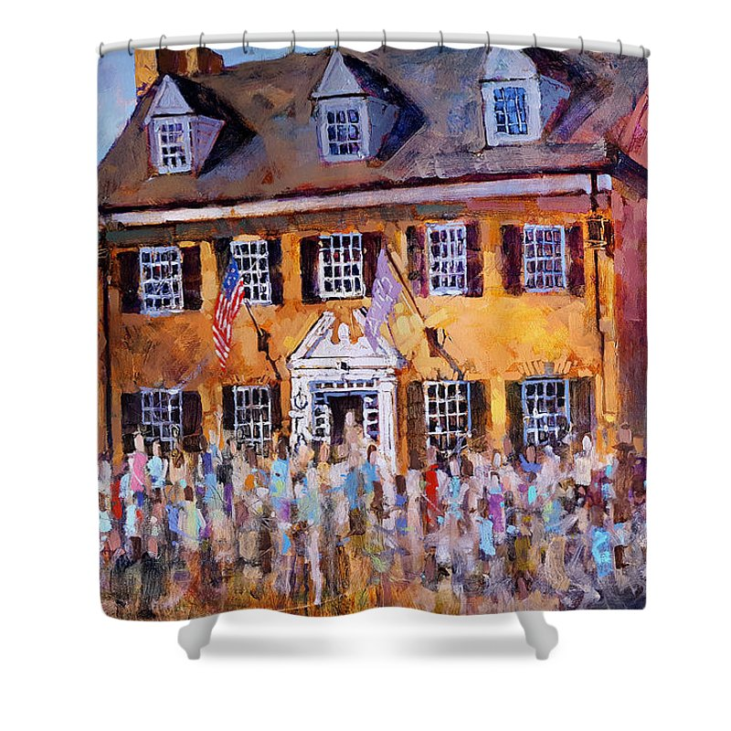 Phi Gamma Delta Shower Curtain Featuring The Painting Unc By Dan Nelson