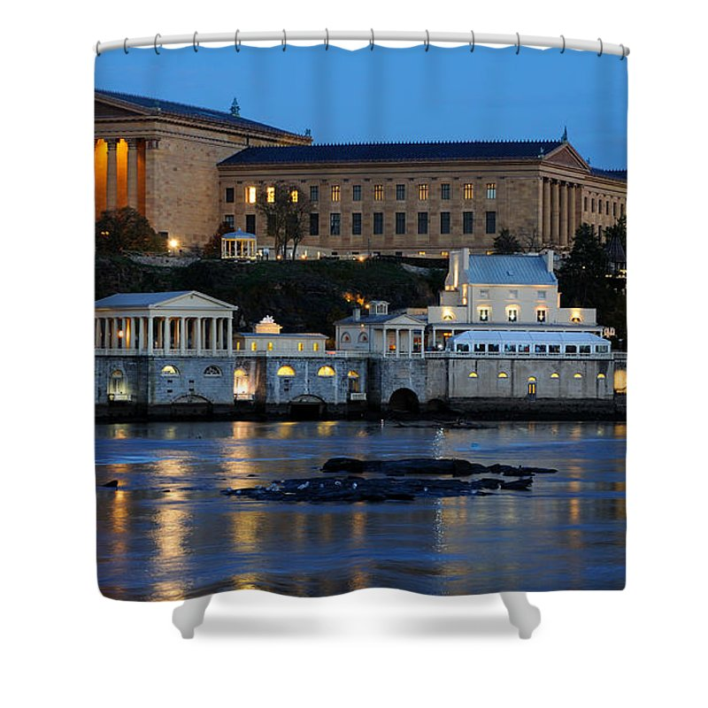 Philadelphia Shower Curtain featuring the photograph Philadelphia Art Museum And Fairmount Water Works by Gary Whitton