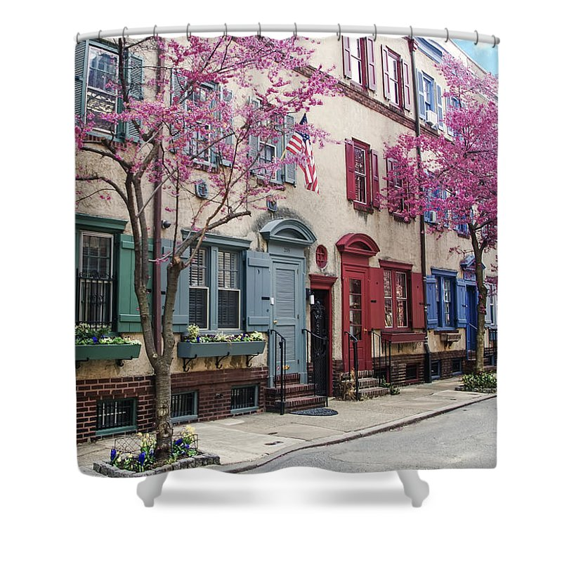 Philadelphia Shower Curtain featuring the photograph Philadelphia Blossoming In The Spring by Bill Cannon