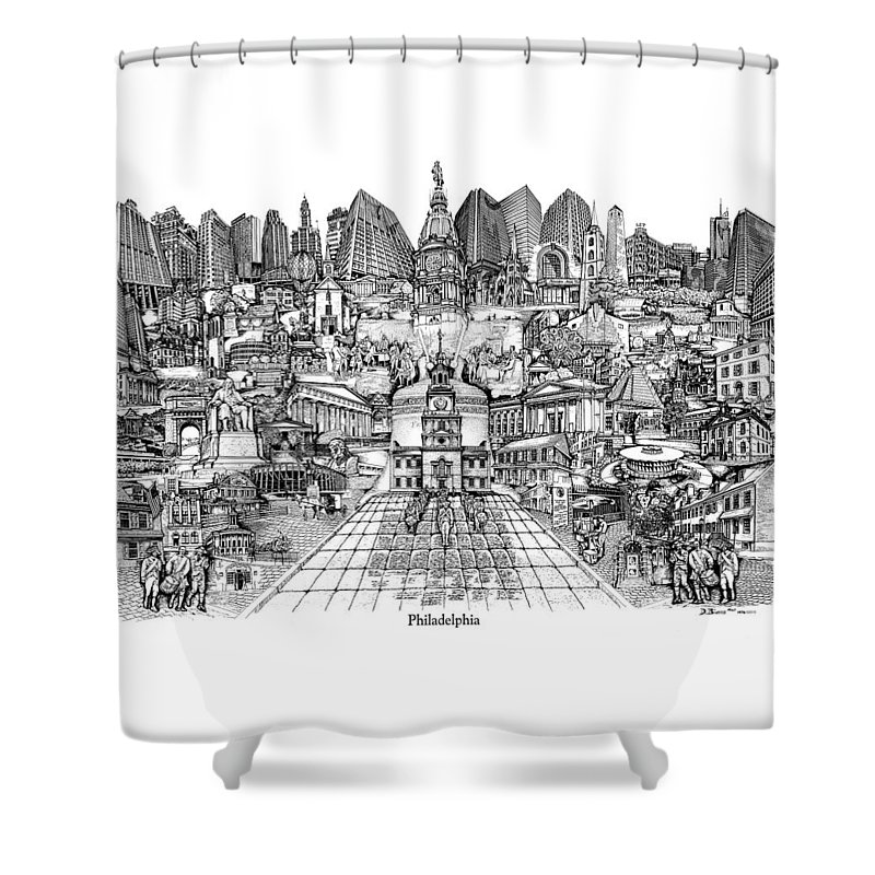 City Drawing Shower Curtain featuring the drawing Philadelphia by Dennis Bivens