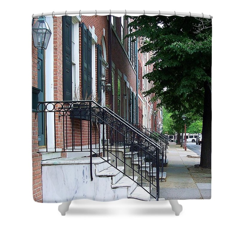 Architecture Shower Curtain featuring the photograph Philadelphia Neighborhood by Debbi Granruth