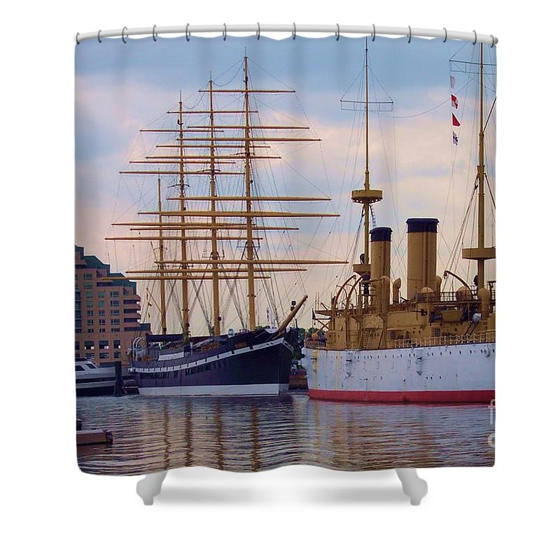 Philadelphia Shower Curtain featuring the photograph Philadelphia Waterfront Olympia by Debbi Granruth