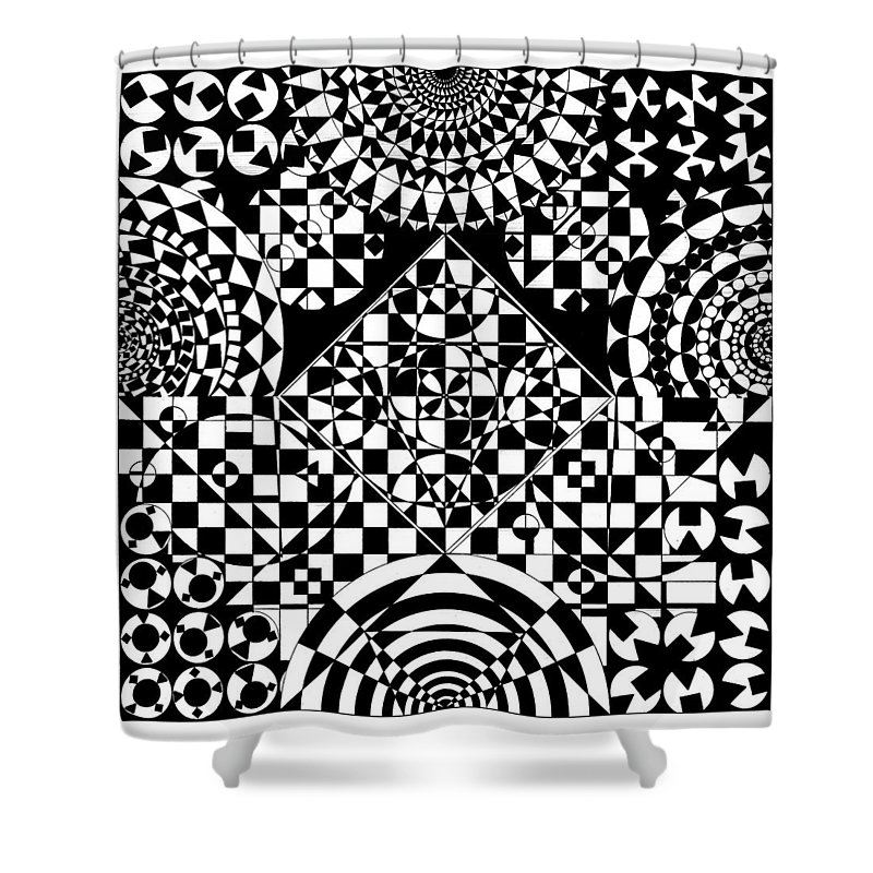 Philosopher Kaleidoscope Stone Square Circle Triangle Design Shapes Primitives 2d Pattern Math Shower Curtain featuring the drawing Philosophers Kaleidoscope by Priscilla Vogelbacher