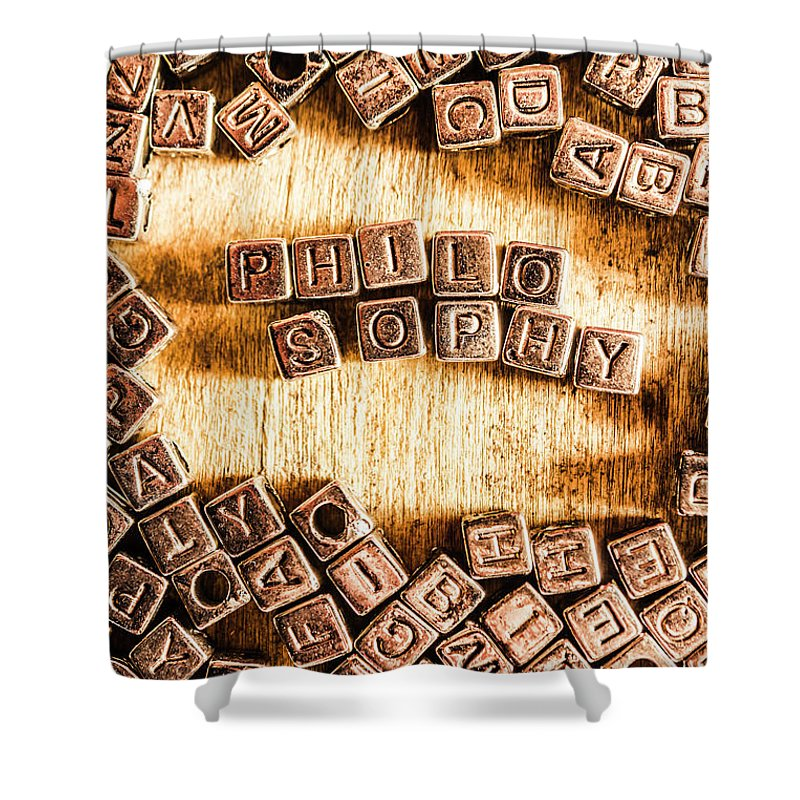 Intellectual Shower Curtain featuring the photograph Philosophy Word Art by Jorgo Photography - Wall Art Gallery