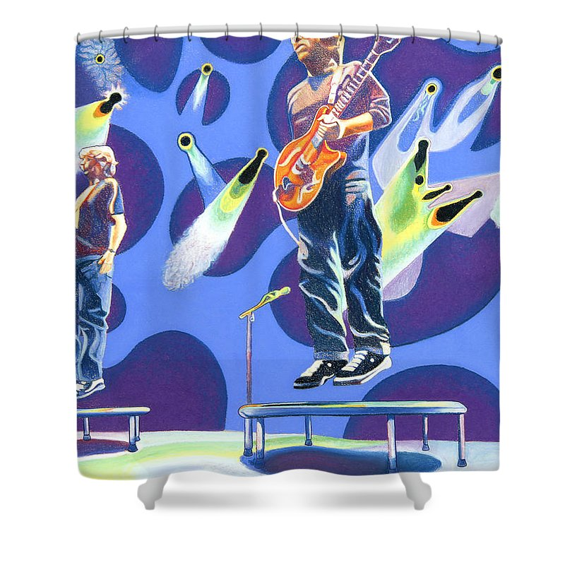 Phish Shower Curtain featuring the drawing Phish Tramps by Joshua Morton