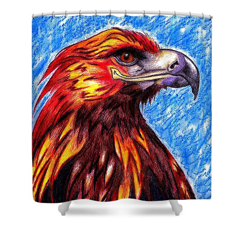 Eagle Shower Curtain Featuring The Drawing Phoenix Fire By Bryant Lamb