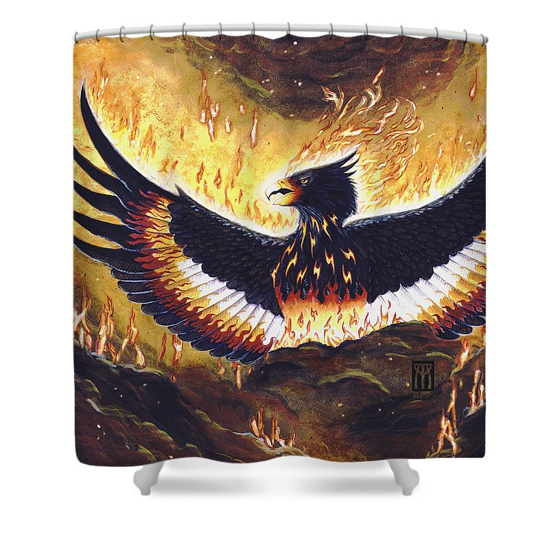 Phoenix Shower Curtain featuring the painting Phoenix Rising by Melissa A Benson